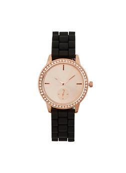 Silicone Strap Rhinestone Bezel Watch - 1140071432092