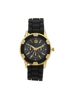Metallic Rhinestone Rubber Strap Watch - 1140071432250