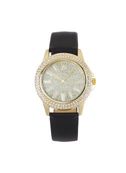 Glitter Face Faux Leather Watch - 1140071432362