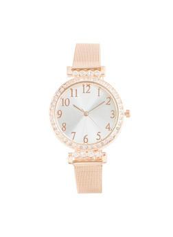 Rhinestone Bezel Metallic Mesh Watch - 1140071432510