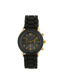 Rubber Strap Watch - BLACK - 1140071432555
