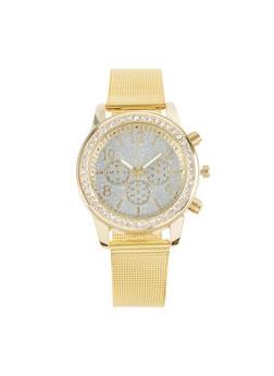 Rhinestone Bezel Metallic Mesh Watch - 1140071432587