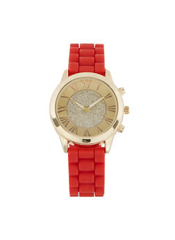Glitter Center Face Watch with Rubber Strap - 1140071432645