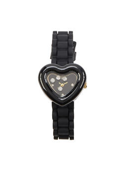Metallic Heart Face Silicone Strap Watch - 1140071432792