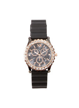 Rhinestone Bezel Rubber Strap Watch - GOLD - 1140071432919