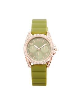 Rhinestone Bezel Rubber Strap Watch - OLIVE - 1140071432920