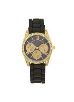 Rhinestone Bezel Rubber Strap Watch - BLACK - 1140071432921