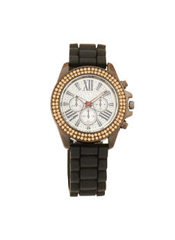 Woven Rubber Strap Watch with Rhinestone Detail - 1140071432922