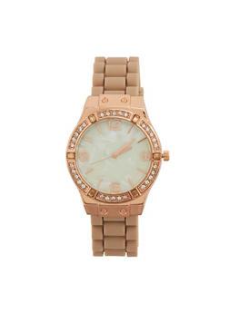 Rubber Strap Rhinestone Bezel Watch - 1140071432926