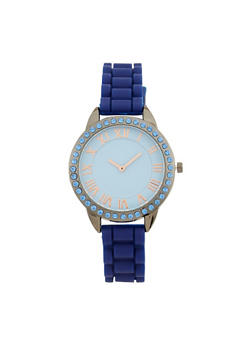 Rhinestone Bezel Rubber Strap Watch - 1140071432928