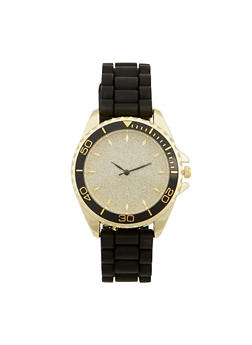 Glitter Face Rubber Strap Watch - JET - 1140071432930