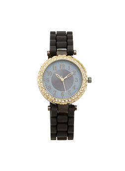 Rhinestone Bezel Rubber Strap Watch - BLACK - 1140071432931