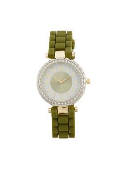 Rhinestone Bezel Rubber Strap Watch - 1140071432931