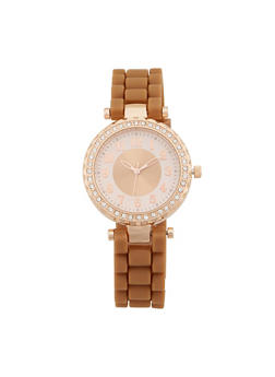 Rhinestone Bezel Rubber Strap Watch - BLUSH - 1140071432931