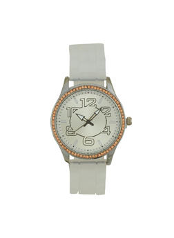 Rhinestone Bezel Rubber Strap Watch - WHITE - 1140071432935
