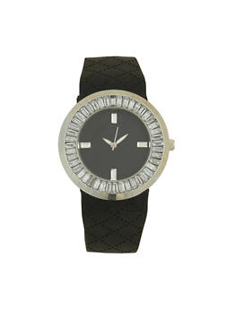 Rhinestone Bezel Silicone Watch - BLACK - 1140071432936