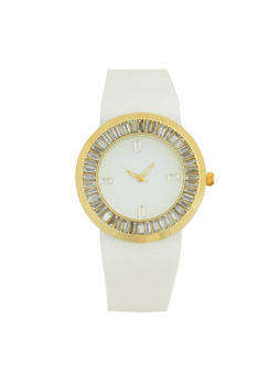 Rhinestone Bezel Silicone Watch - WHITE - 1140071432936