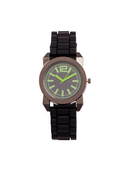 Rubber Strap Sports Watch - GREEN - 1140071432937