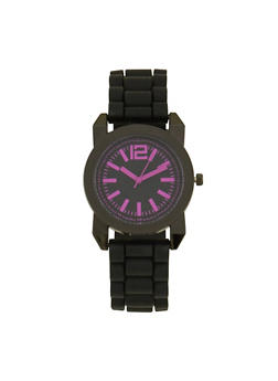 Rubber Strap Sports Watch - FUCHSIA - 1140071432937