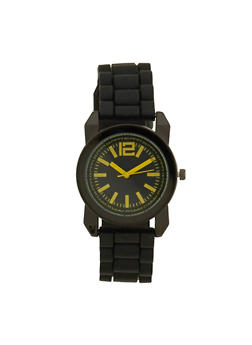 Rubber Strap Sports Watch - YELLOW - 1140071432937