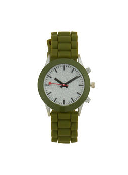 Glitter Face Watch with Rubber Strap - OLIVE - 1140071432938