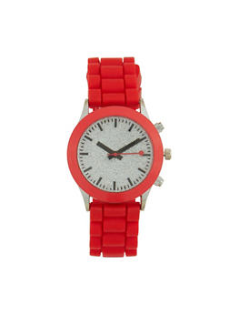 Glitter Face Watch with Rubber Strap - RED - 1140071432938