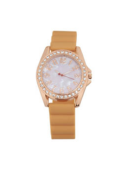 Rhinestone Bezel Rubber Strap Watch - BLUSH - 1140071432944