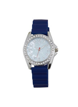 Rhinestone Bezel Rubber Strap Watch - 1140071432944