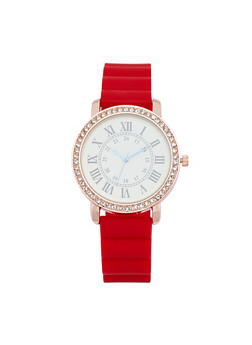 Roman Numeral Rubber Strap Watch - RED - 1140071432947