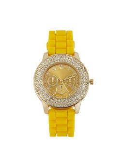 Rhinestone Bezel Silicone Strap Watch - 1140071432963