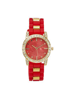 Metallic Rhinestone Watch - 1140071432971