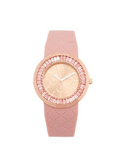 Rhinestone Bezel Watch with Textured Rubber Strap - MAUVE - 1140071432977