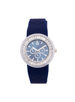 Rhinestone Bezel Watch with Textured Rubber Strap - 1140071432977