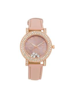 Rhinestone Bezel Faux Leather Watch - 1140071433152