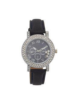 Rhinestone Bezel Faux Leather Strap Watch - 1140071433201