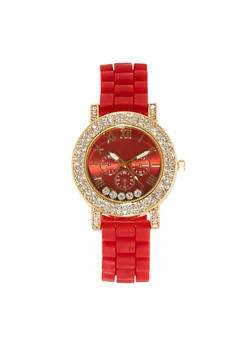 Rhinestone Studded Rubber Watch - 1140071433322