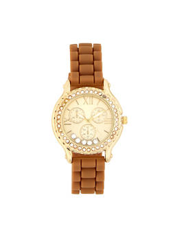Floating Rhinestone Silicone Watch - 1140071433336