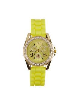 Rhinestone Silicone Band Watch - 1140071433624