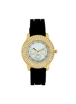 Layered Rhinestone Bezel Watch - 1140071433692