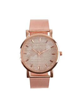 Glitter Face Metallic Mesh Watch - 1140071433899