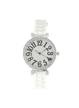 Glitter Rhinestone Skinny Strap Watch - 1140071433933