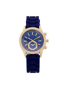 Rhinestone Bezel Watch with Rubber Strap - 1140071434098