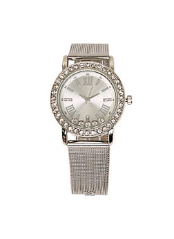 Womens Silver Rhinestone Watch