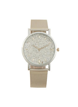 Metal Mesh Strap Watch with Rhinestone Detail - 1140071434281