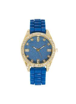 Rhinestone Glitter Silicone Watch - 1140071434669