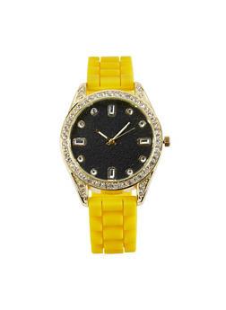 Rhinestone Bezel Silicone Strap Watch - 1140071434692
