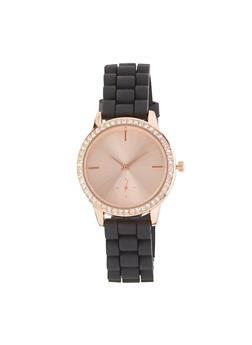 Rhinestone Bezel Silicone Watch - 1140071434740