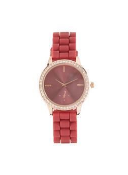 Rhinestone Bezel Silicone Strap Watch | 1140071434740 - 1140071434740