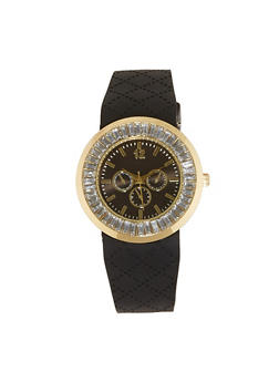 Rhinestone Bezel Rubber Watch - 1140071434780