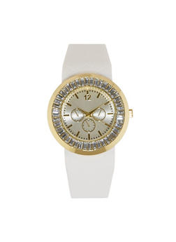 Rhinestone Bezel Rubber Watch - 1140071434780
